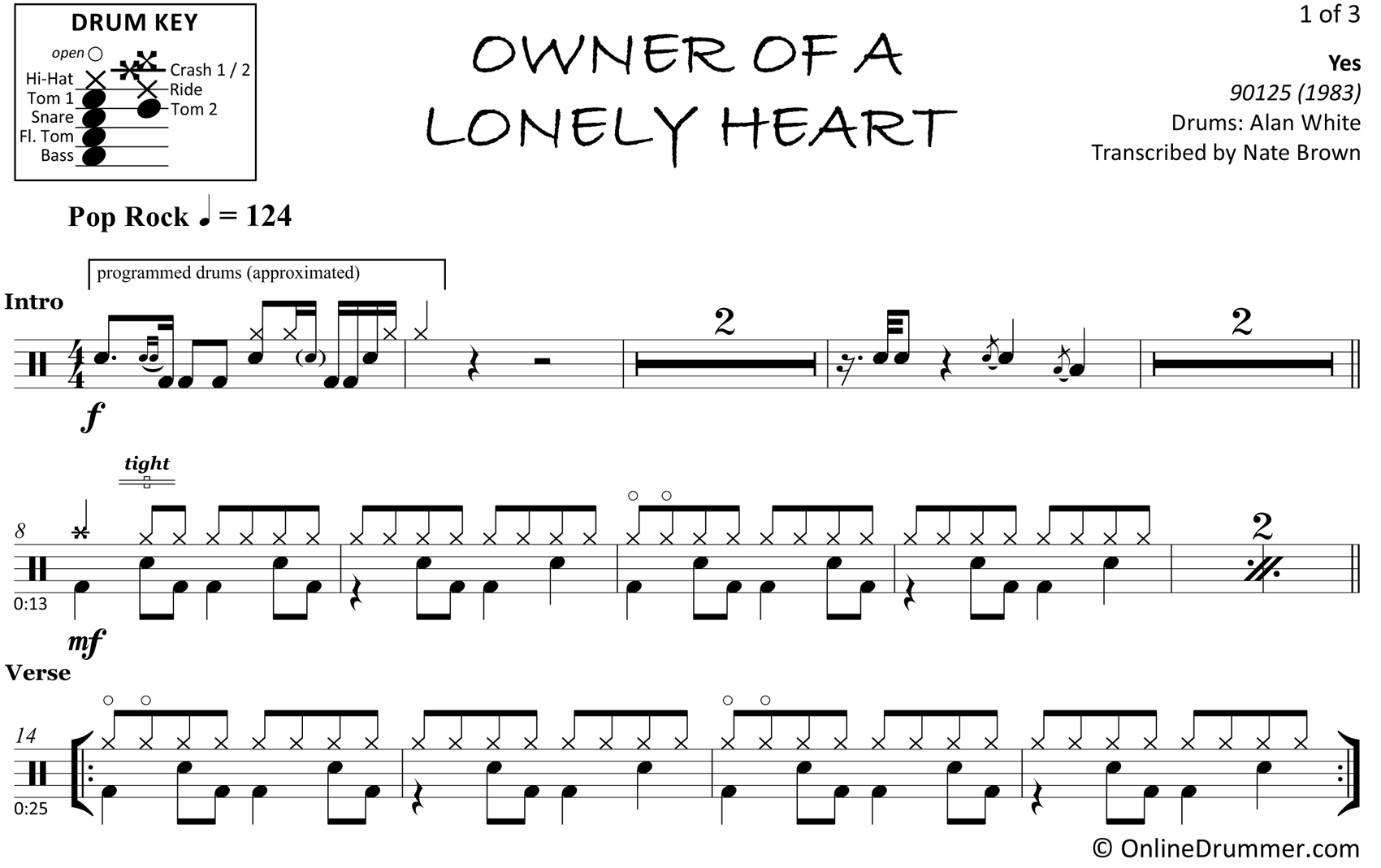 Owner of a Lonely Heart - Yes - Drum Sheet Music