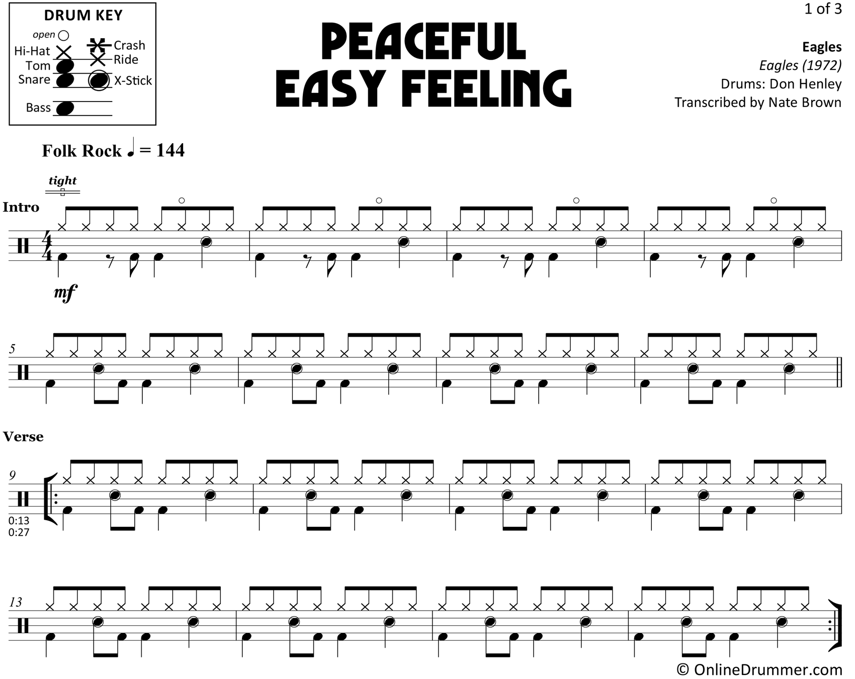 Peaceful Easy Feeling - Eagles - Drum Sheet Music