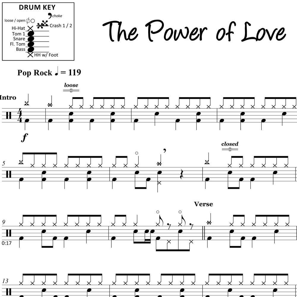 The Power of Love - Huey Lewis and the News - Drum Sheet Music