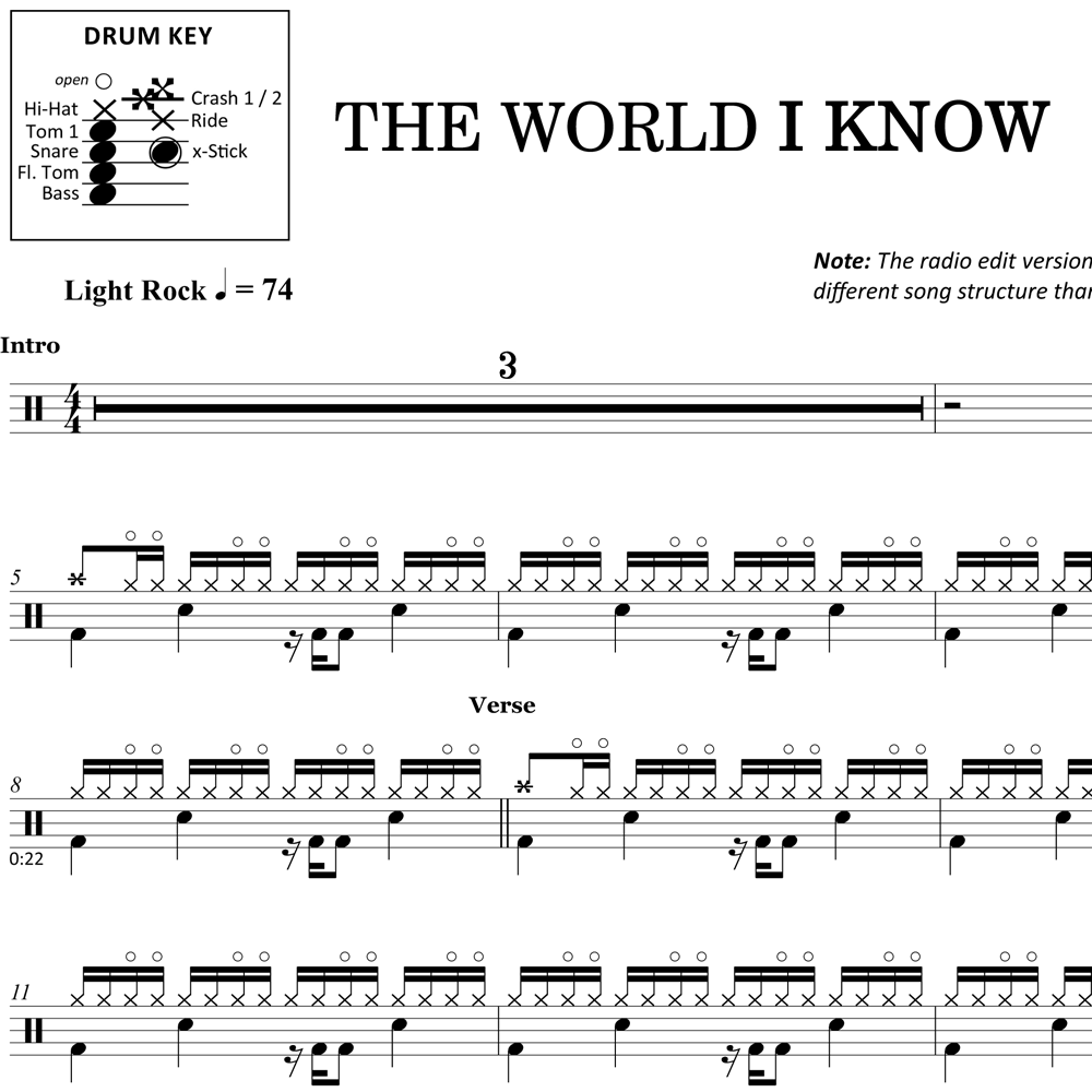 The World I Know - Collective Soul - Drum Sheet Music