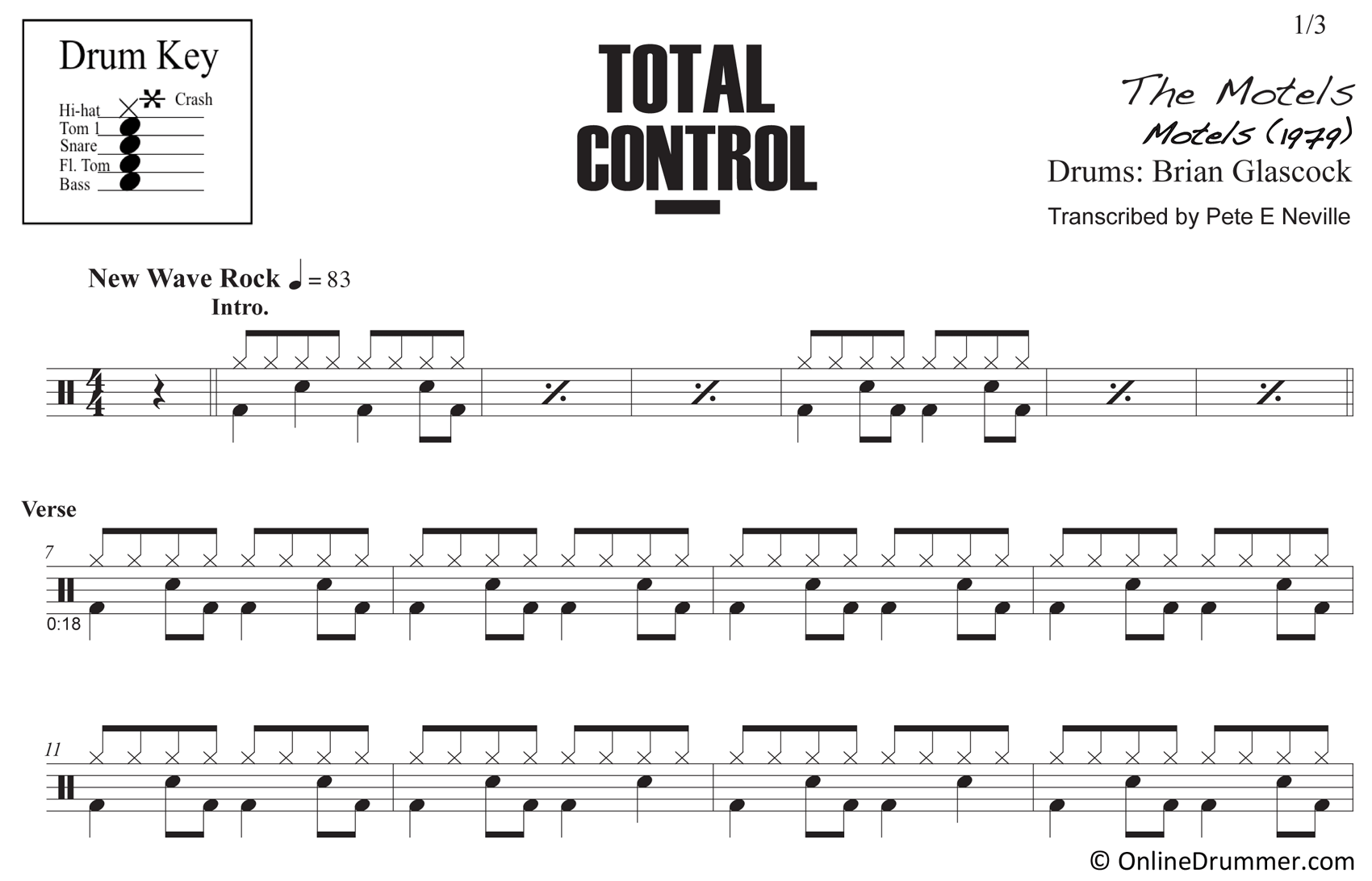 Total Control - The Motels - Drum Sheet Music