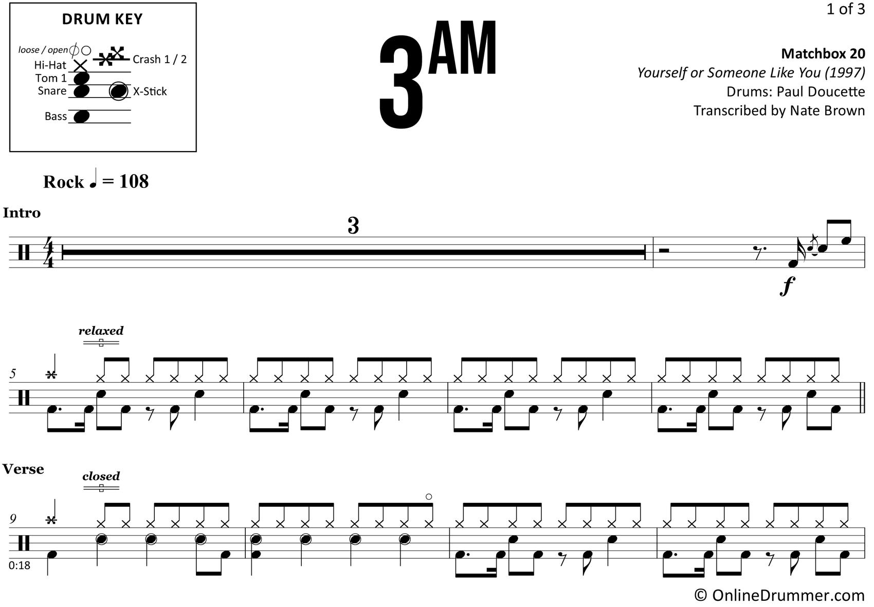 3AM - Matchbox 20 - Drum Sheet Music