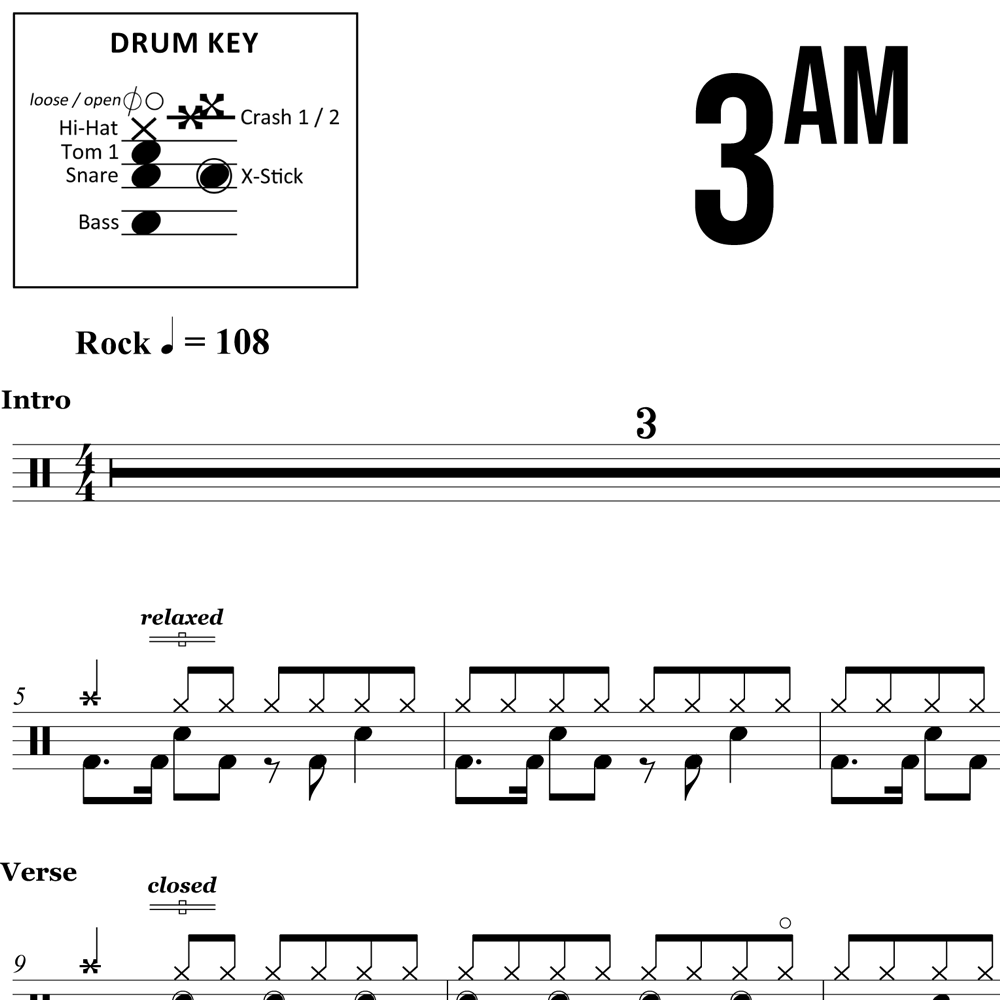 3AM - Matchbox 20 - Drum Sheet Music