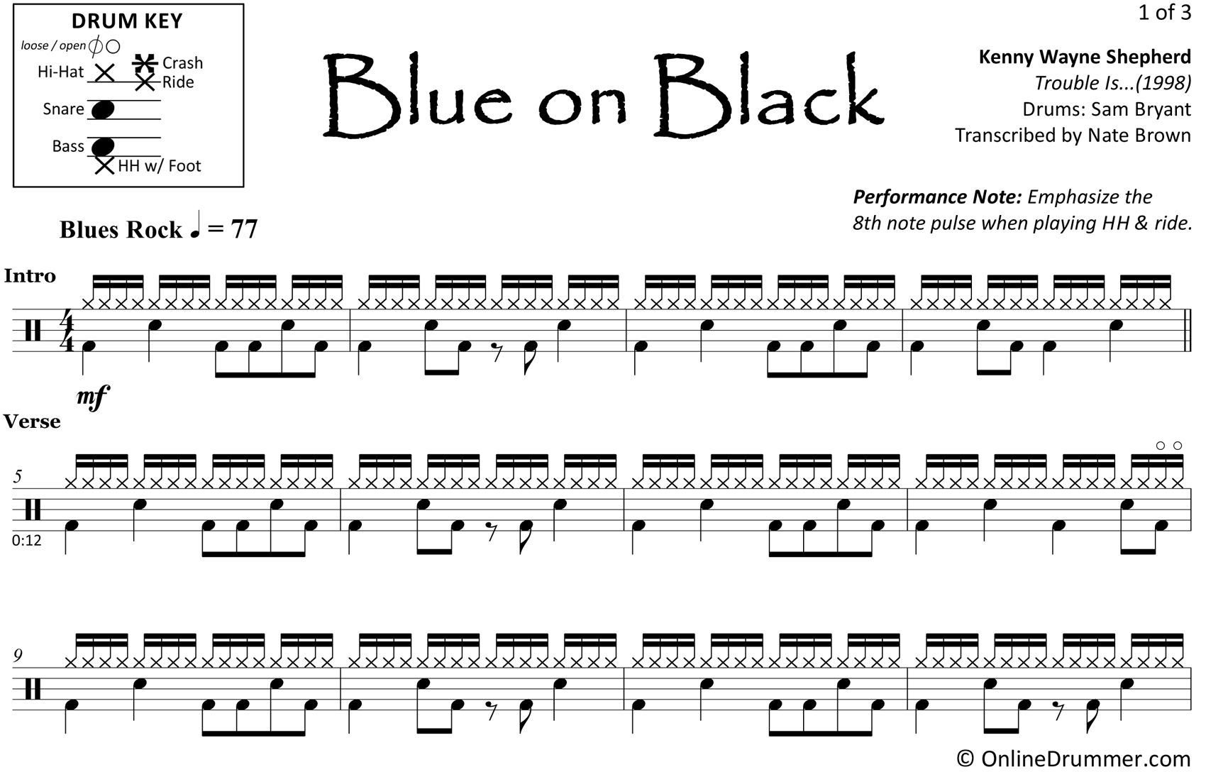 Blue on Black - Kenny Wayne Shepherd - Drum Sheet Music