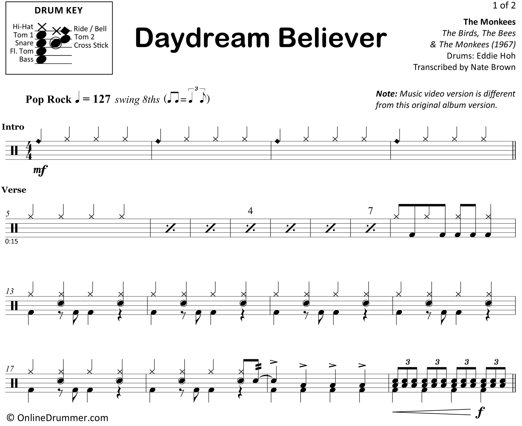 Daydream Believer - The Monkees - Drum Sheet Music