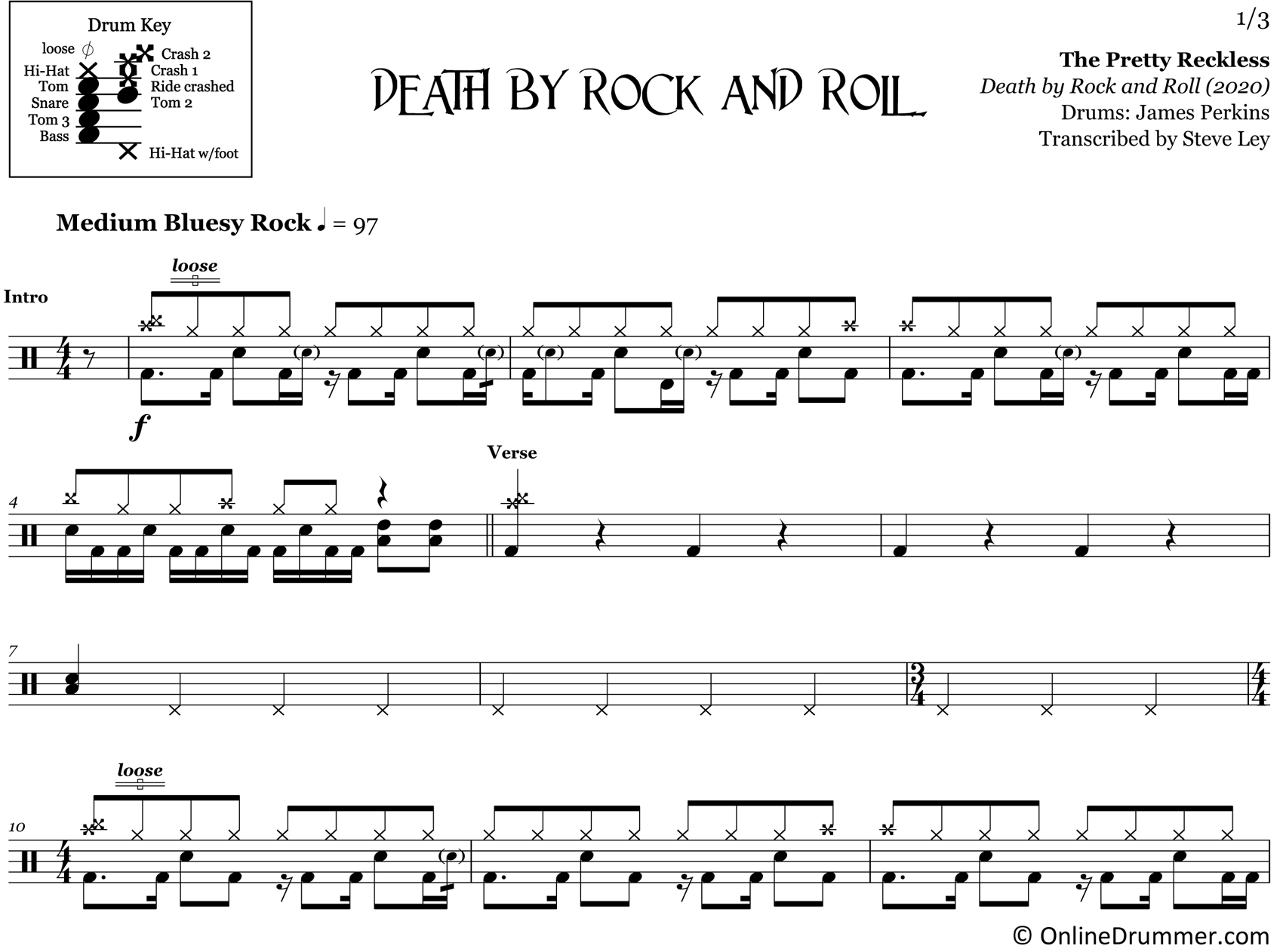 Death by Rock and Roll - The Pretty Reckless - Drum Sheet Music