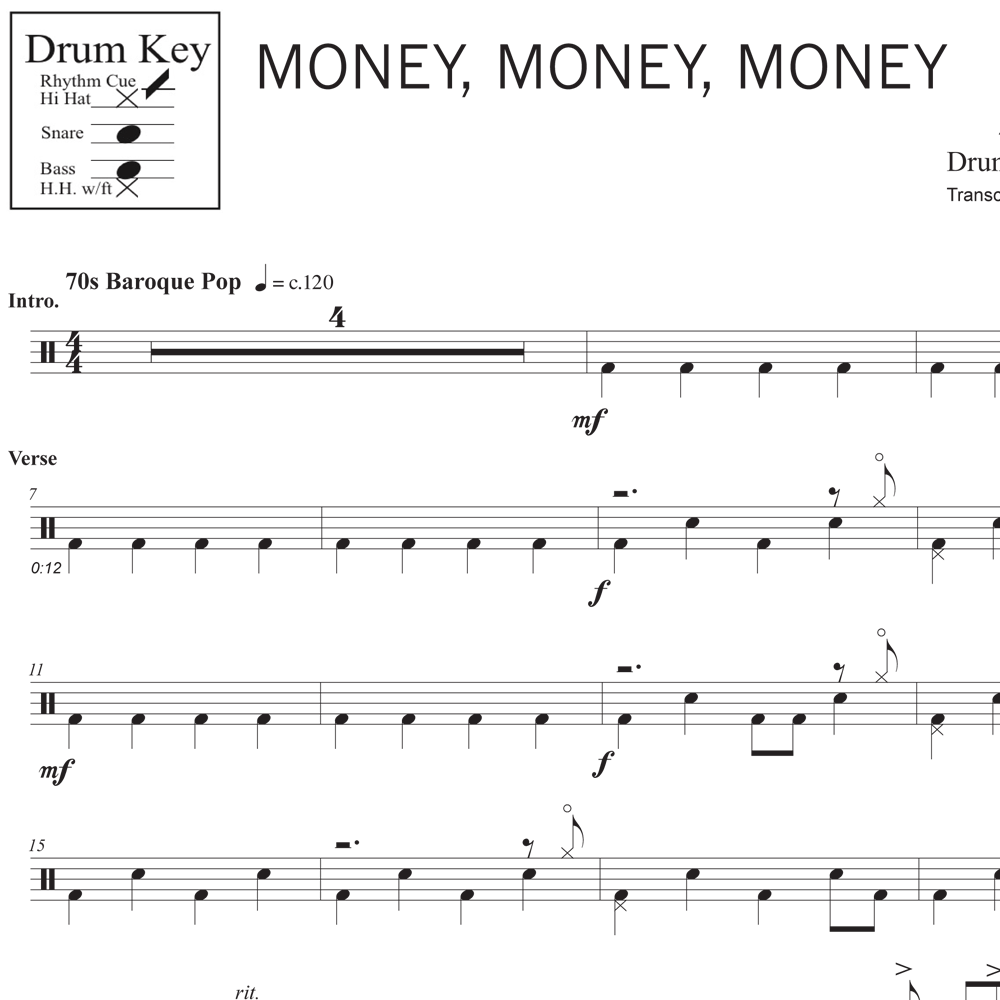 Money, Money, Money - ABBA - Drum Sheet Music