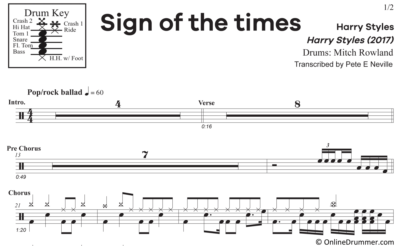 Sign of the Times - Harry Styles - Drum Sheet Music