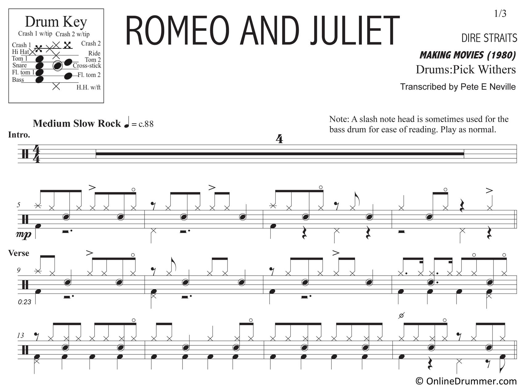 Romeo and Juliet - Dire Straits - Drum Sheet Music