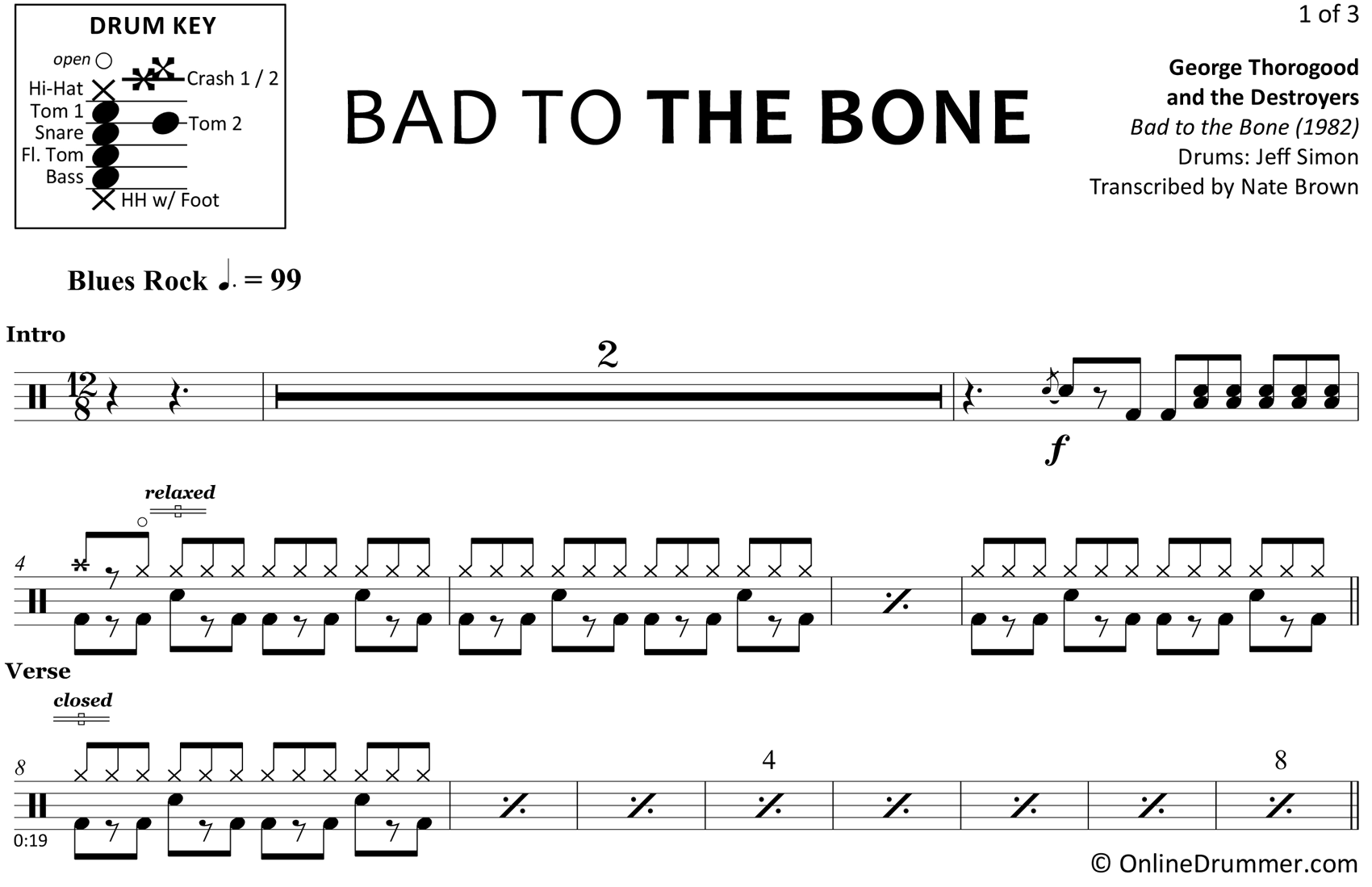 Bad to the Bone - George Thorogood and the Destroyers - Drum Sheet Music