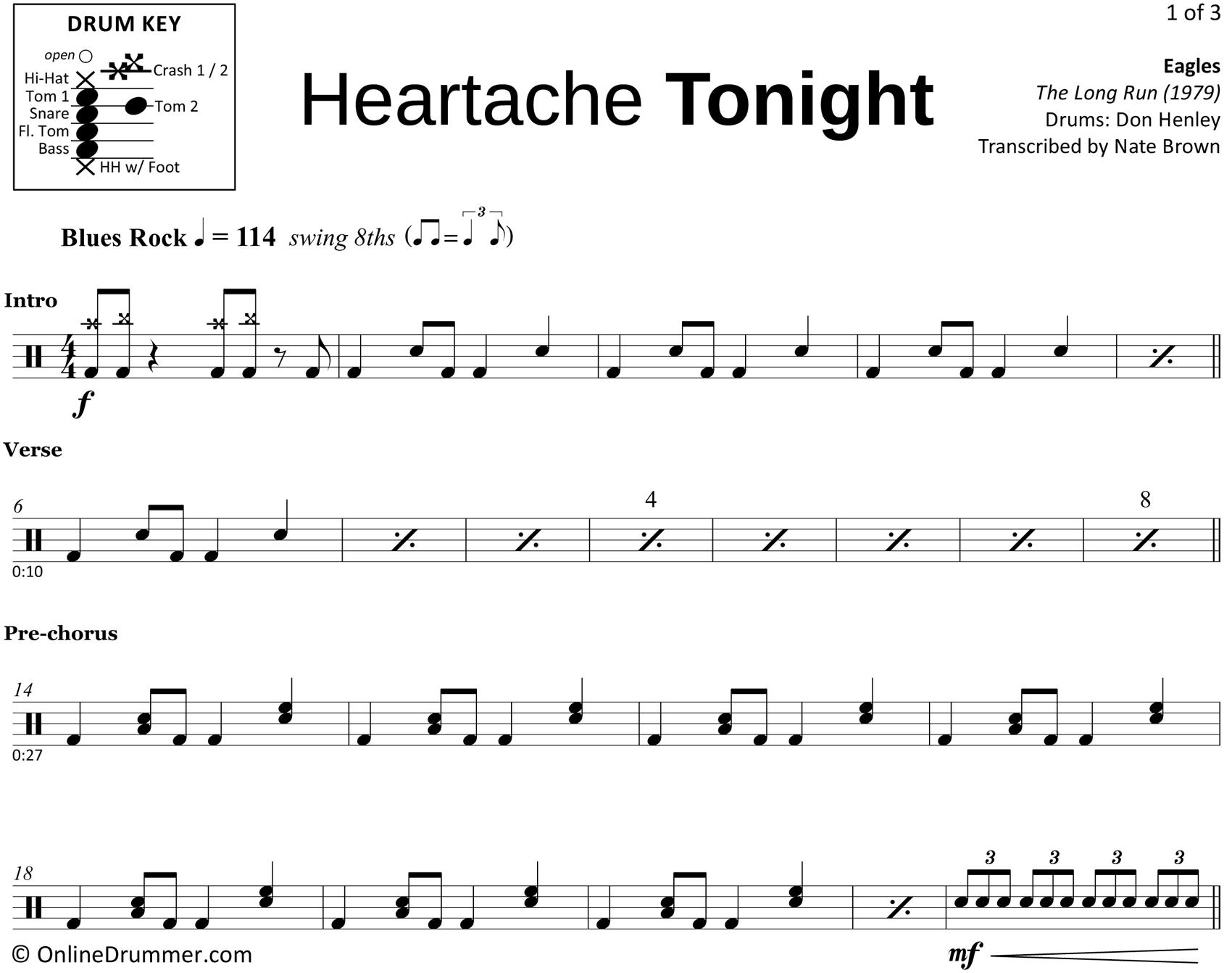 Heartache Tonight - Eagles - Drum Sheet Music