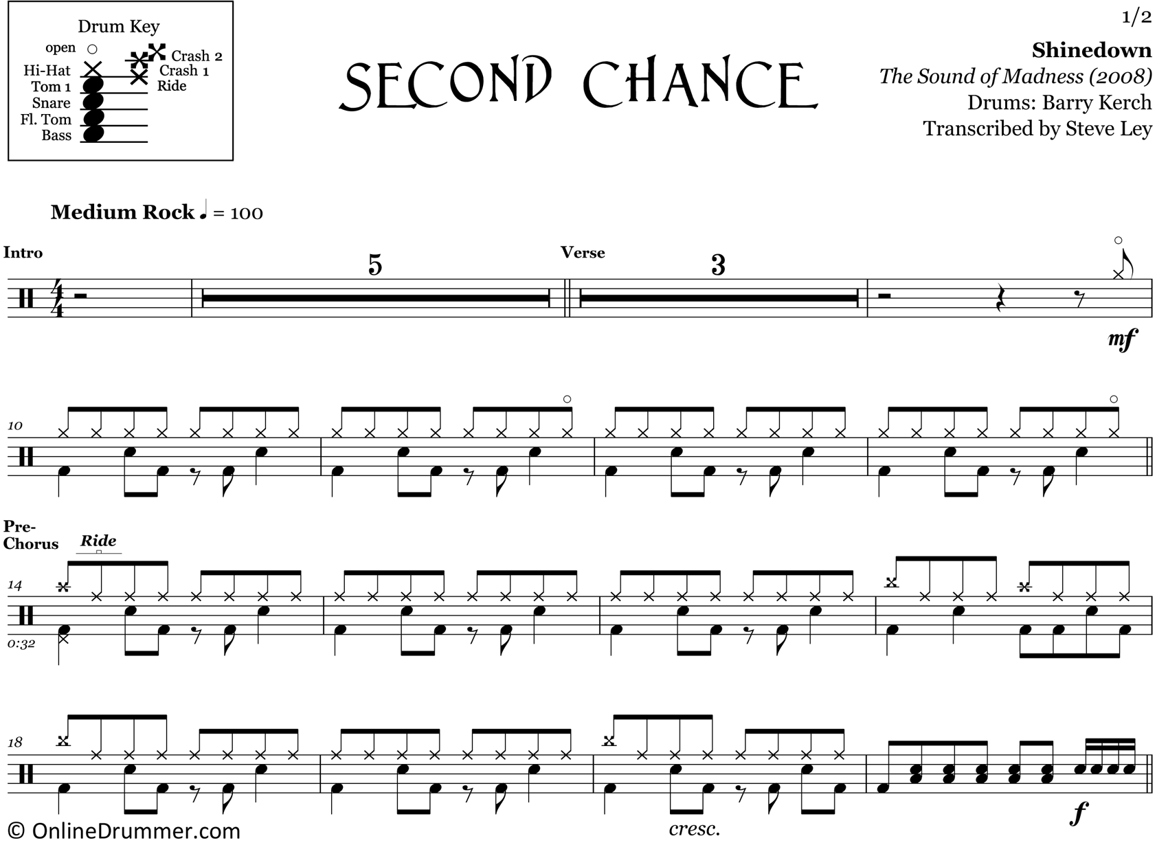 Second Chance - Shinedown - Drum Sheet Music