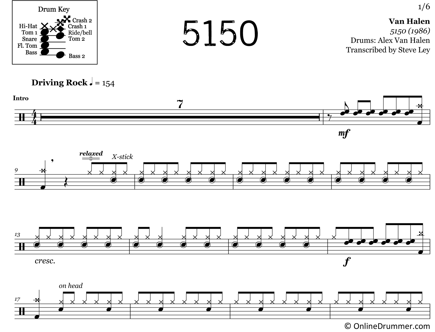 5150 - Van Halen - Drum Sheet Music