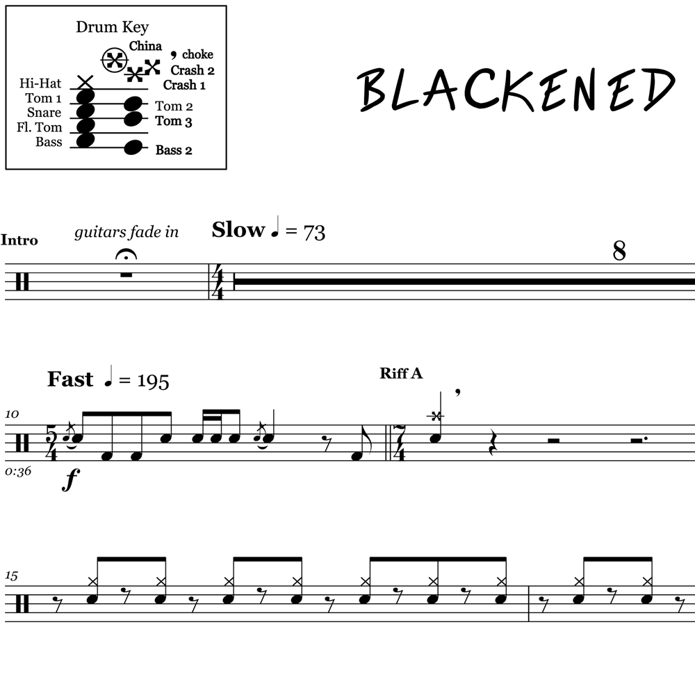 Blackened - Metallica - Drum Sheet Music