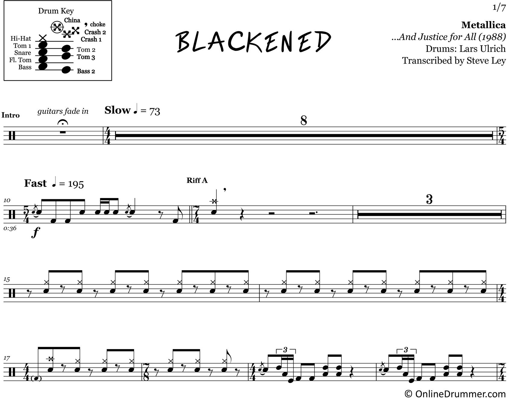 Blackened - Metallica - Drum Sheet Music