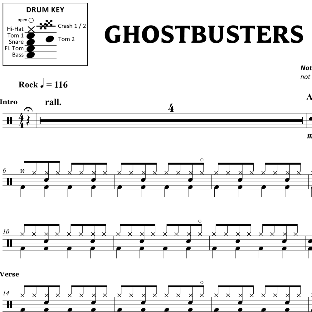 Ghostbusters - Ray Parker Jr. - Drum Sheet Music