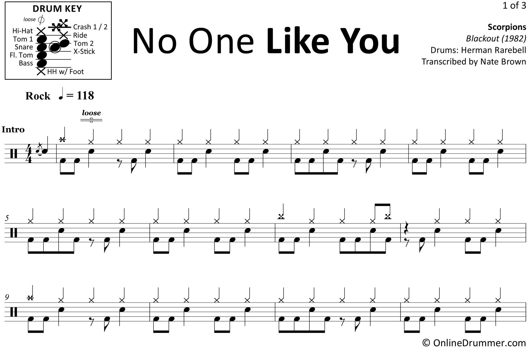 No One Like You - Scorpions - Drum Sheet Music
