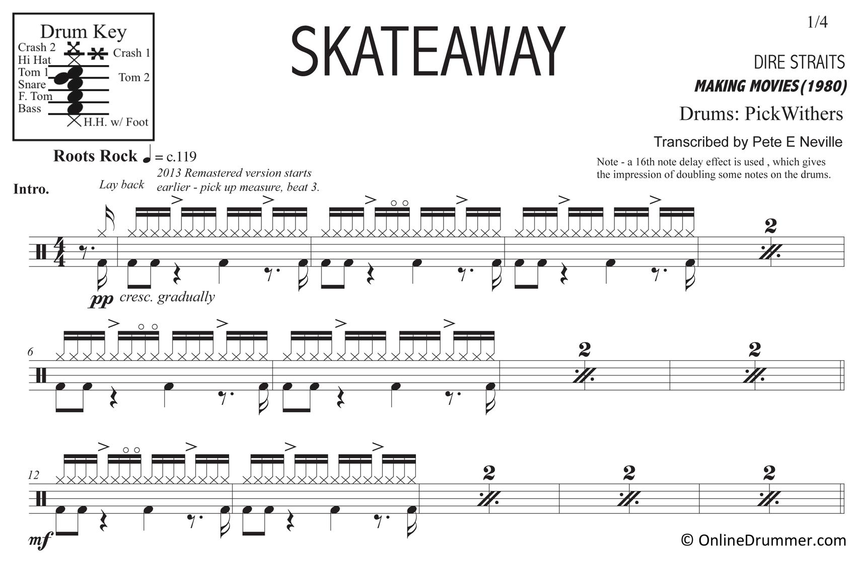 Skateaway - Dire Straits - Drum Sheet Music