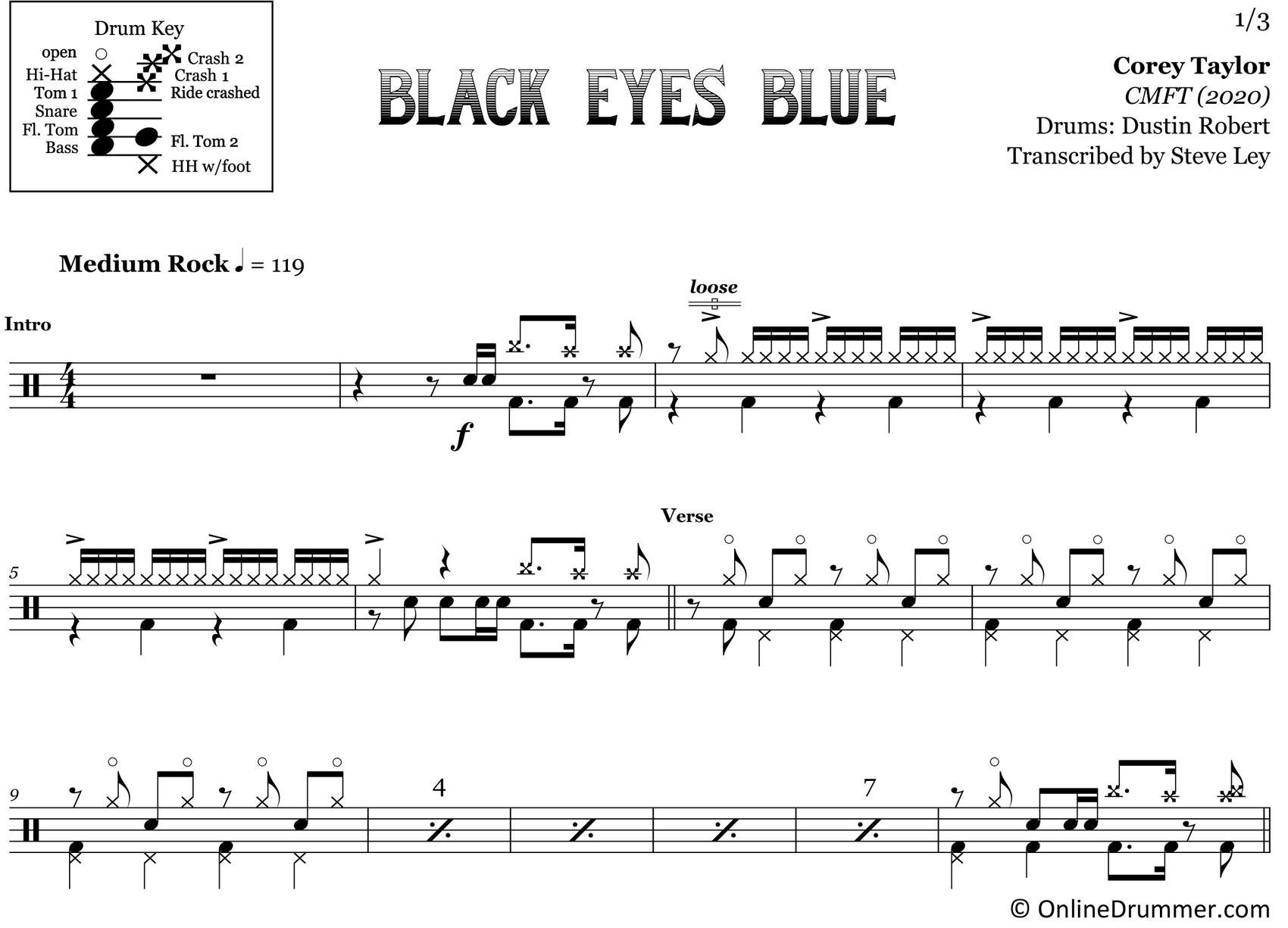 Black Eyes Blue - Corey Taylor - Drum Sheet Music