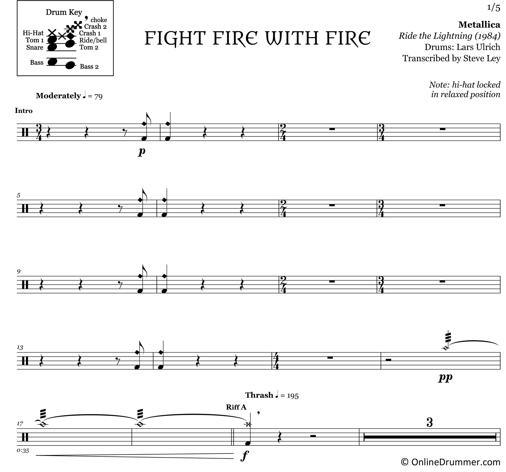 Fight Fire with Fire - Metallica - Drum Sheet Music