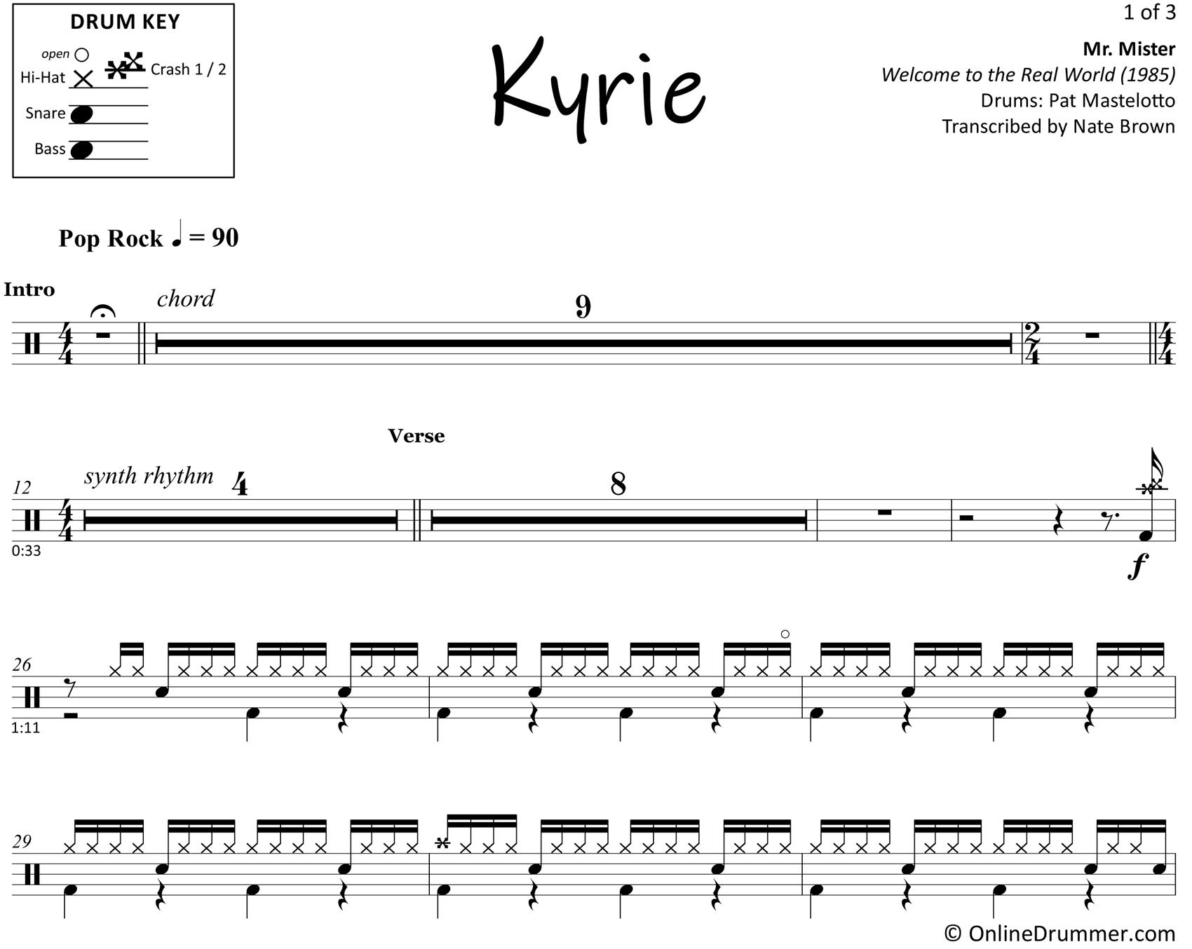 Kyrie - Mr. Mister - Drum Sheet Music