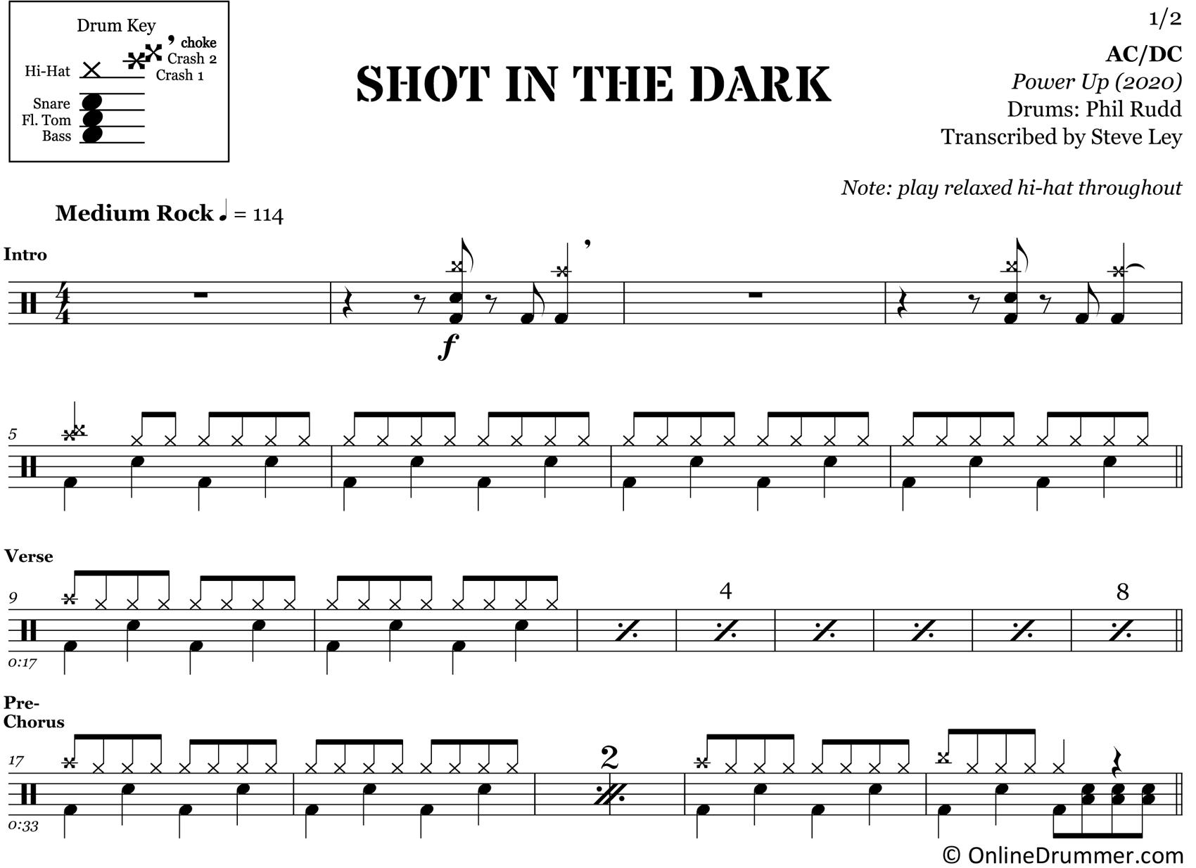 Shot in the Dark - ACDC - Drum Sheet Music
