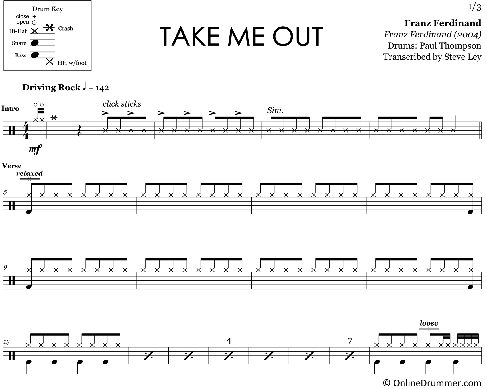 Take Me Out - Franz Ferdinand - Drum Sheet Music