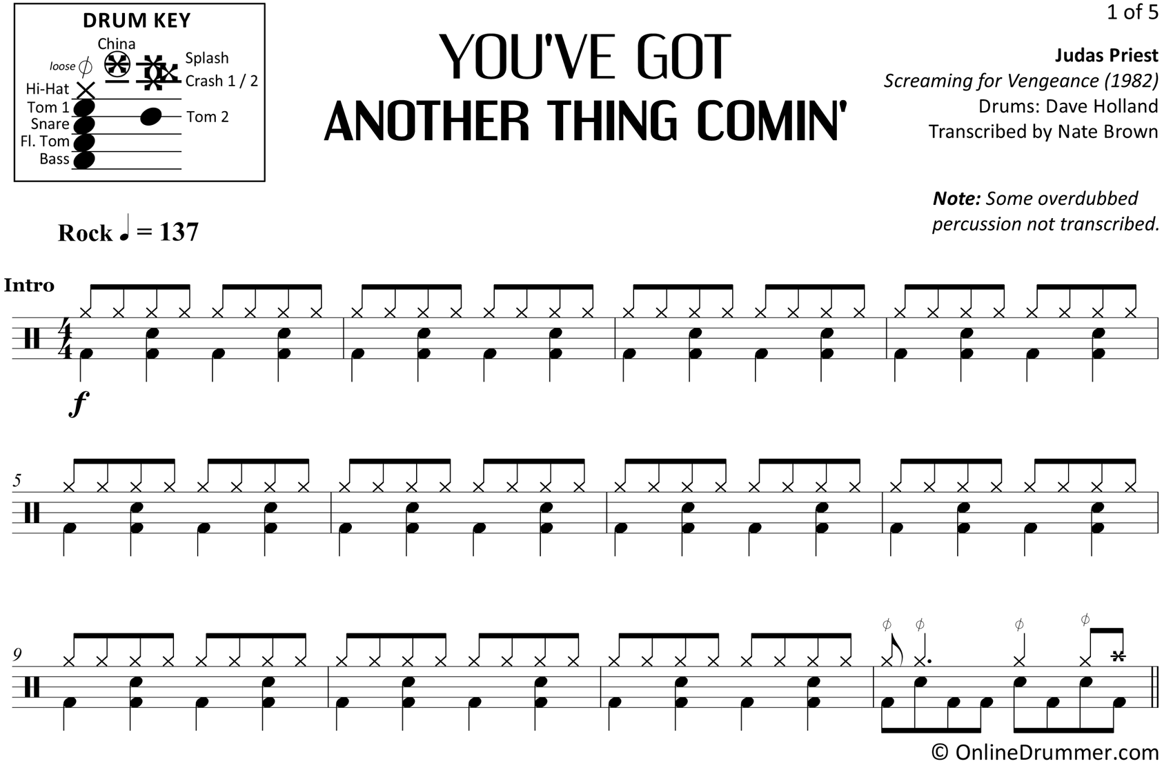 You've Got Another Thing Comin' - Judas Priest - Drum Sheet Music