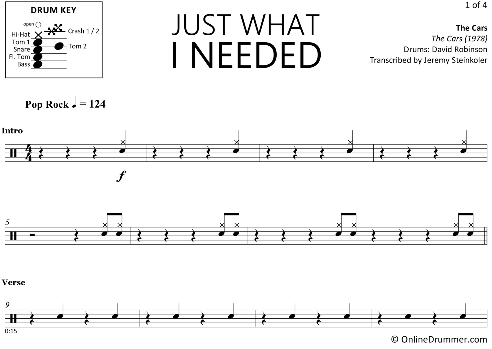 Just What I Needed - The Cars - Drum Sheet Music