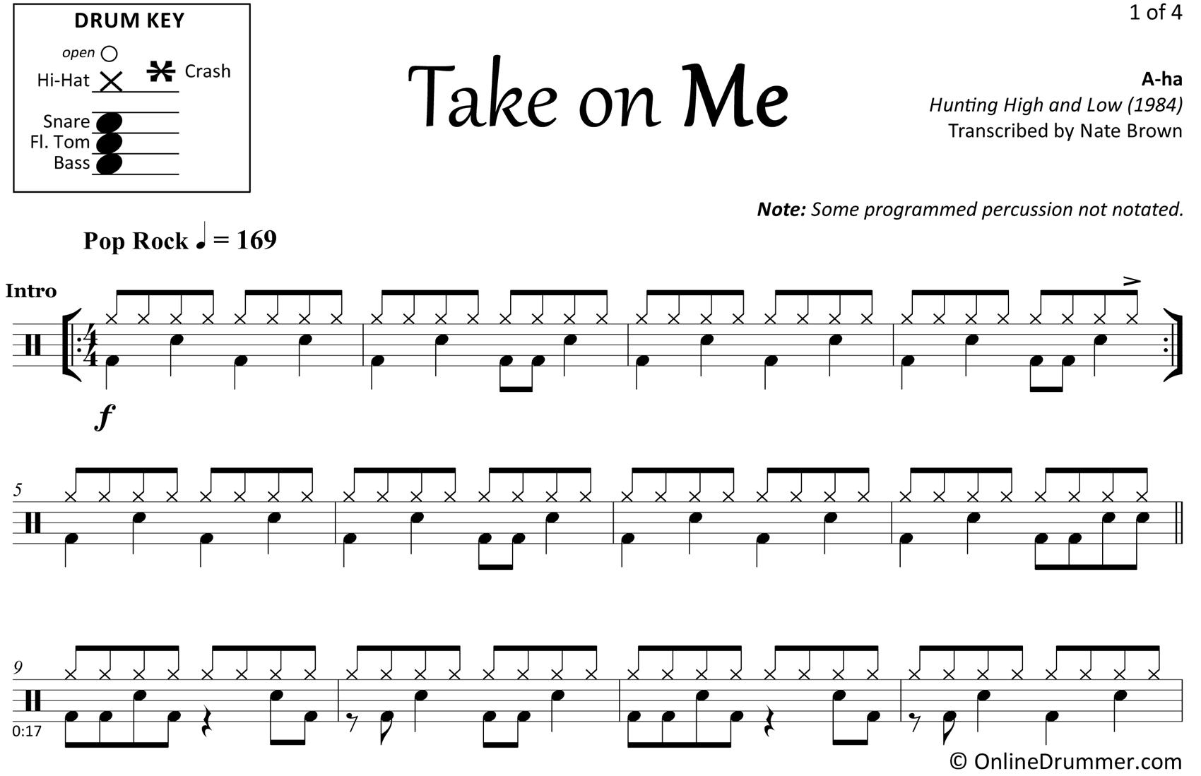 Take On Me - A-ha - Drum Sheet Music