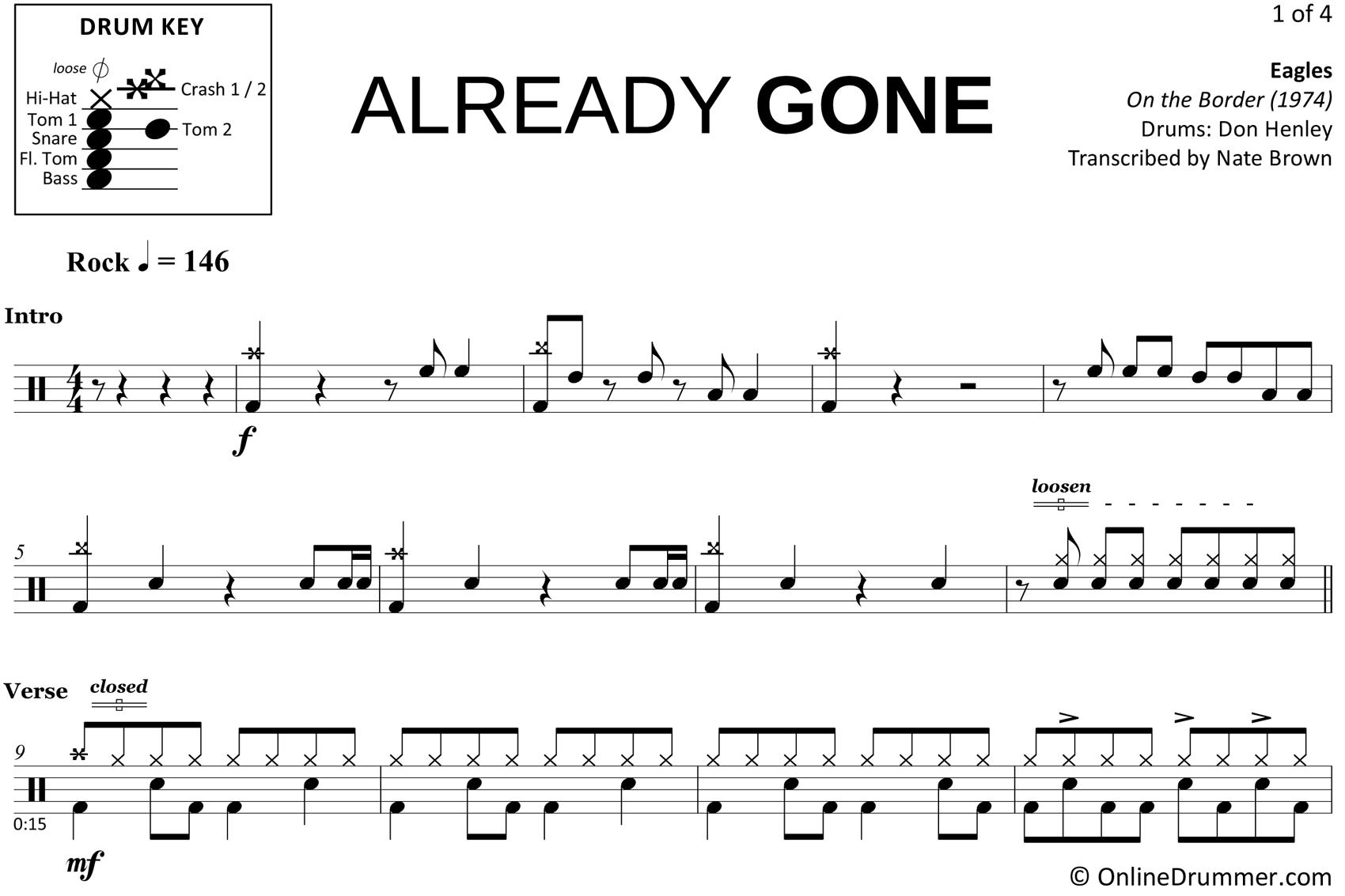 Already Gone - Eagles - Drum Sheet Music