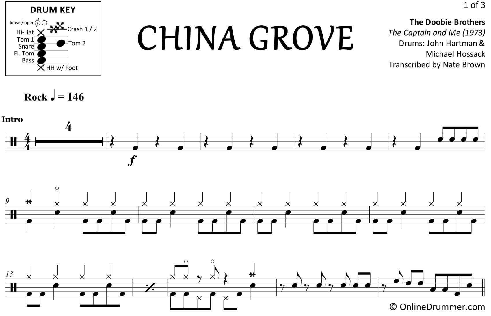 China Grove - The Doobie Brothers - Drum Sheet Music