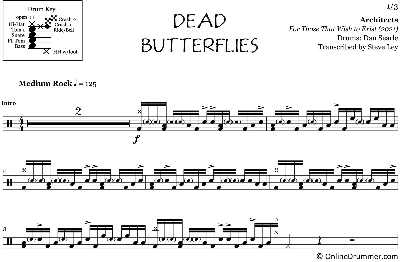 Dead Butterflies - Architects - Drum Sheet Music