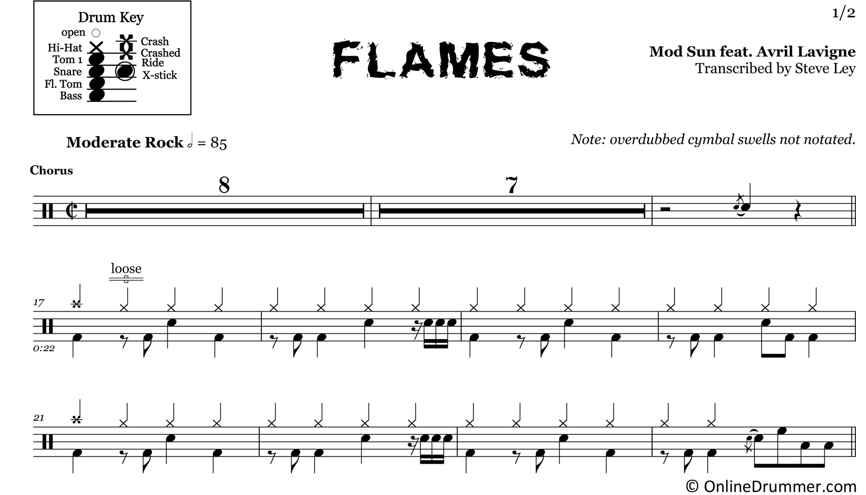 Flames - Mod Sun (Feat. Avril Lavigne) - Drum Sheet Music