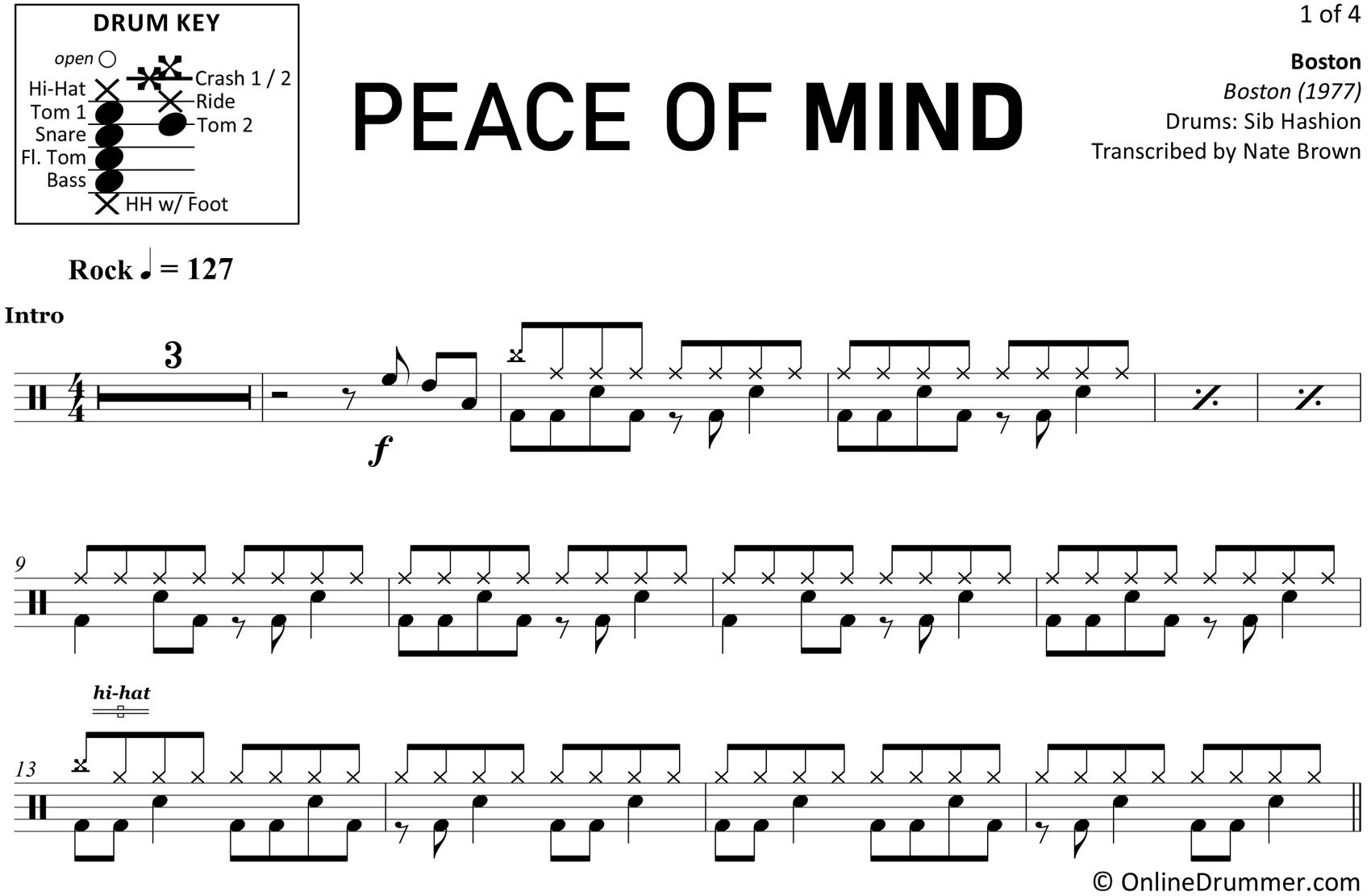 Peace of Mind - Boston - Drum Sheet Music