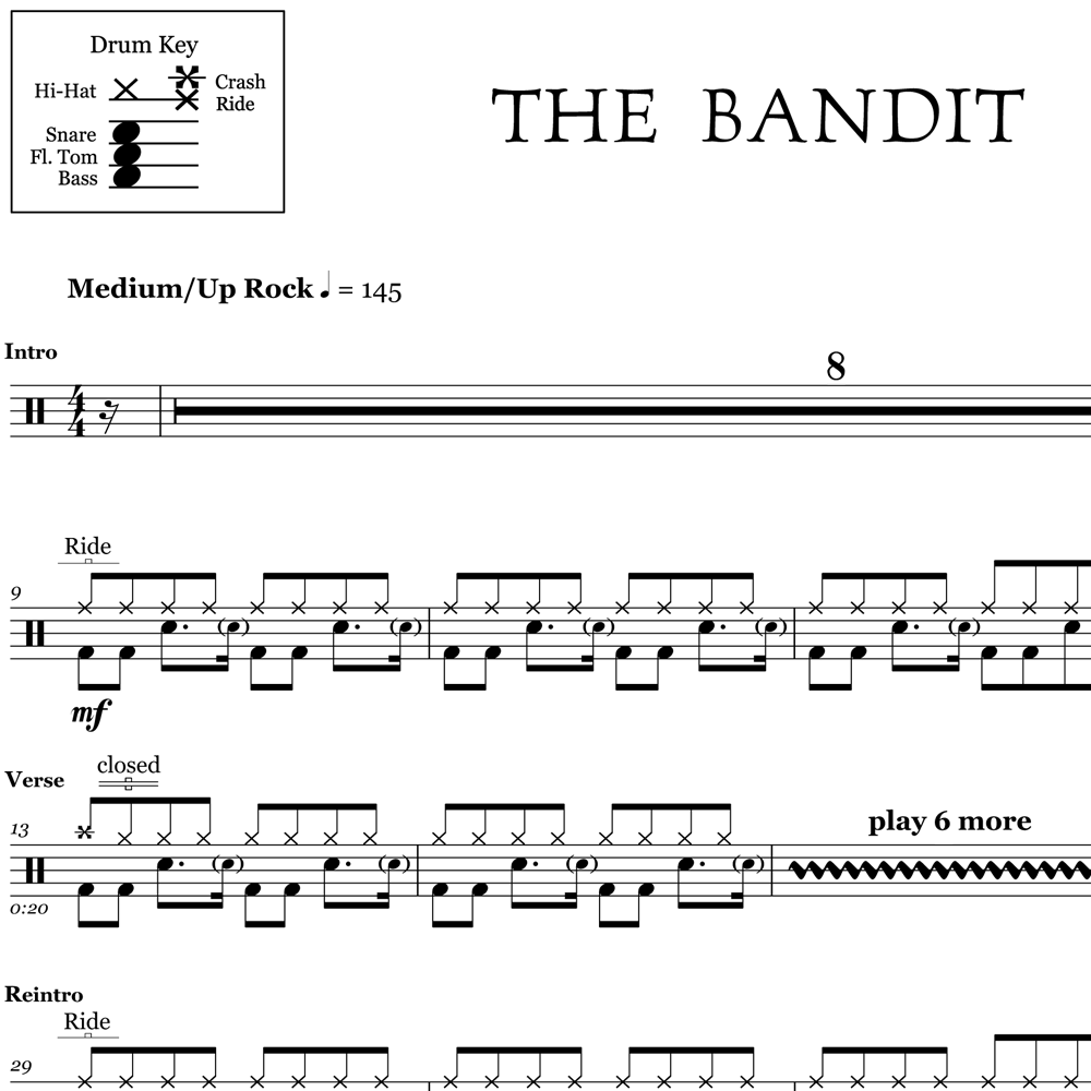 The Bandit - Kings of Leon - Drum Sheet Music