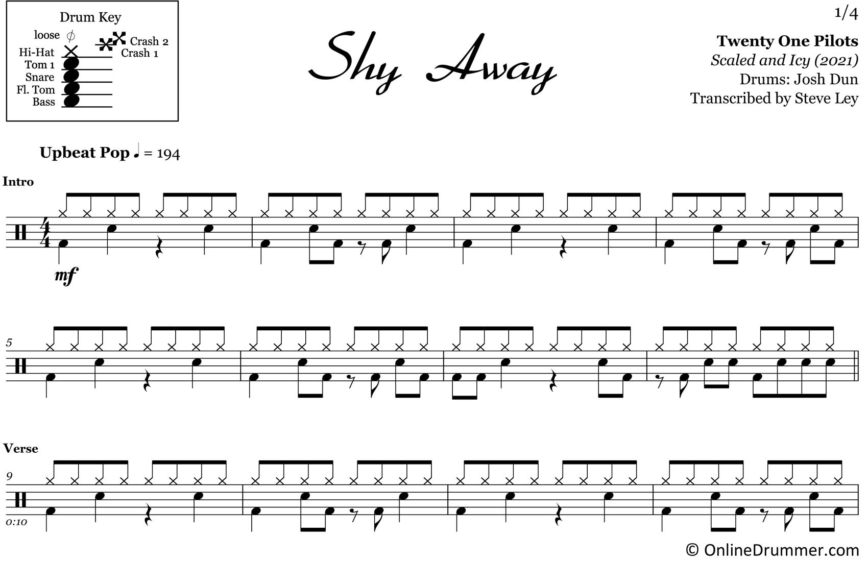Shy Away - Twenty One Pilots - Drum Sheet Music