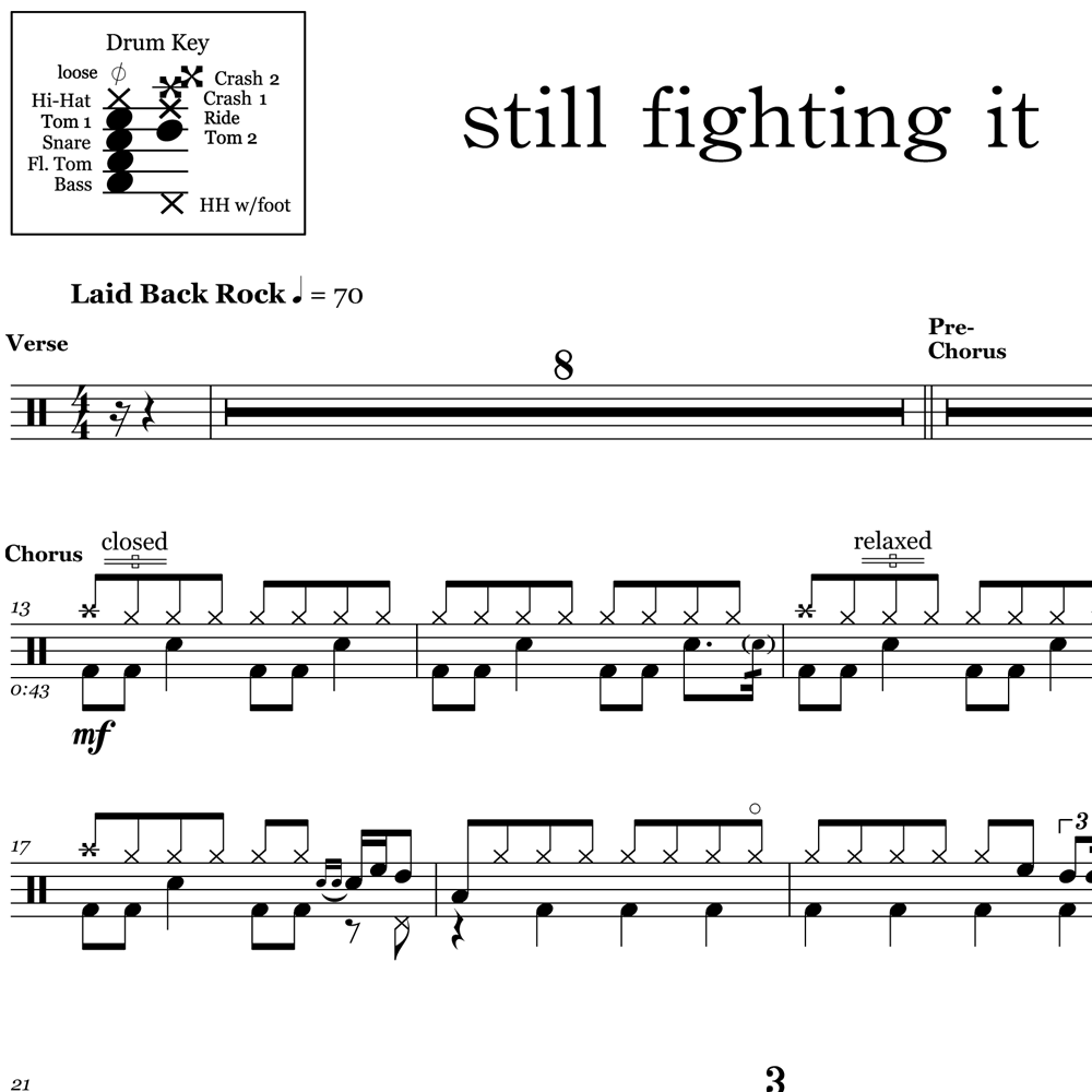 Still Fighting It - Ben Folds - Drum Sheet Music