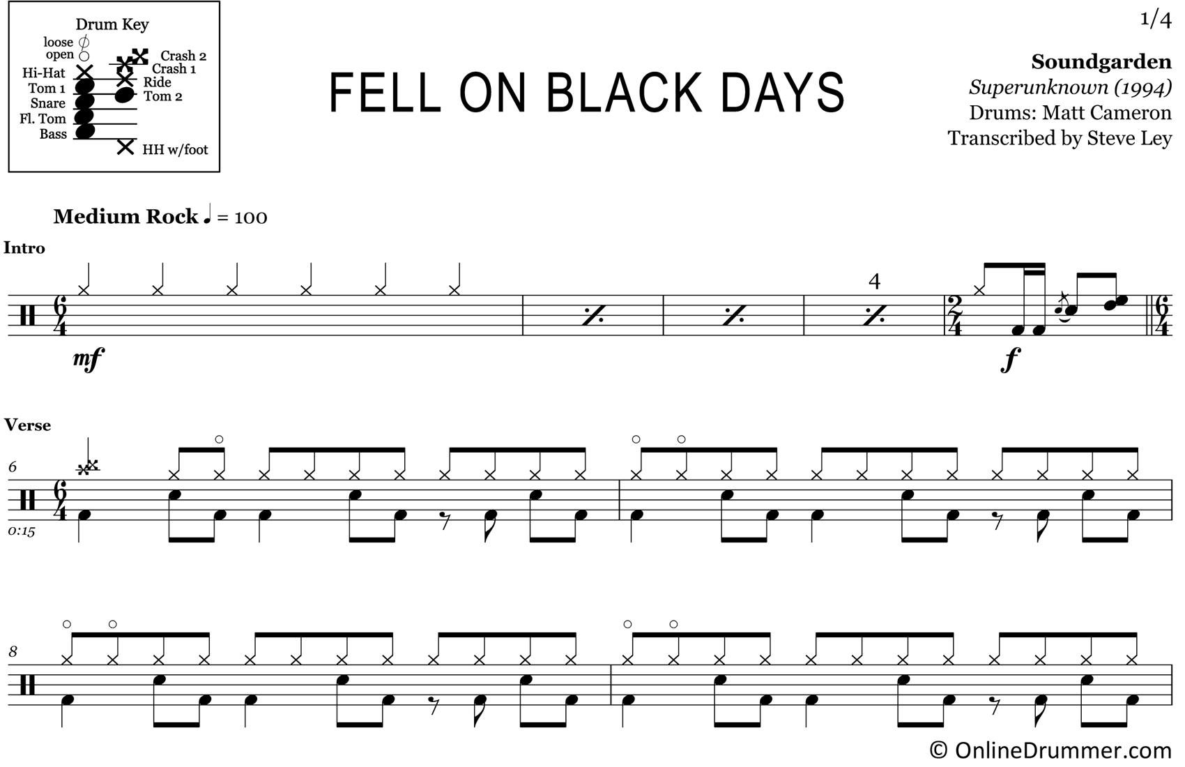 Fell on Black Days - Soundgarden - Drum Sheet Music
