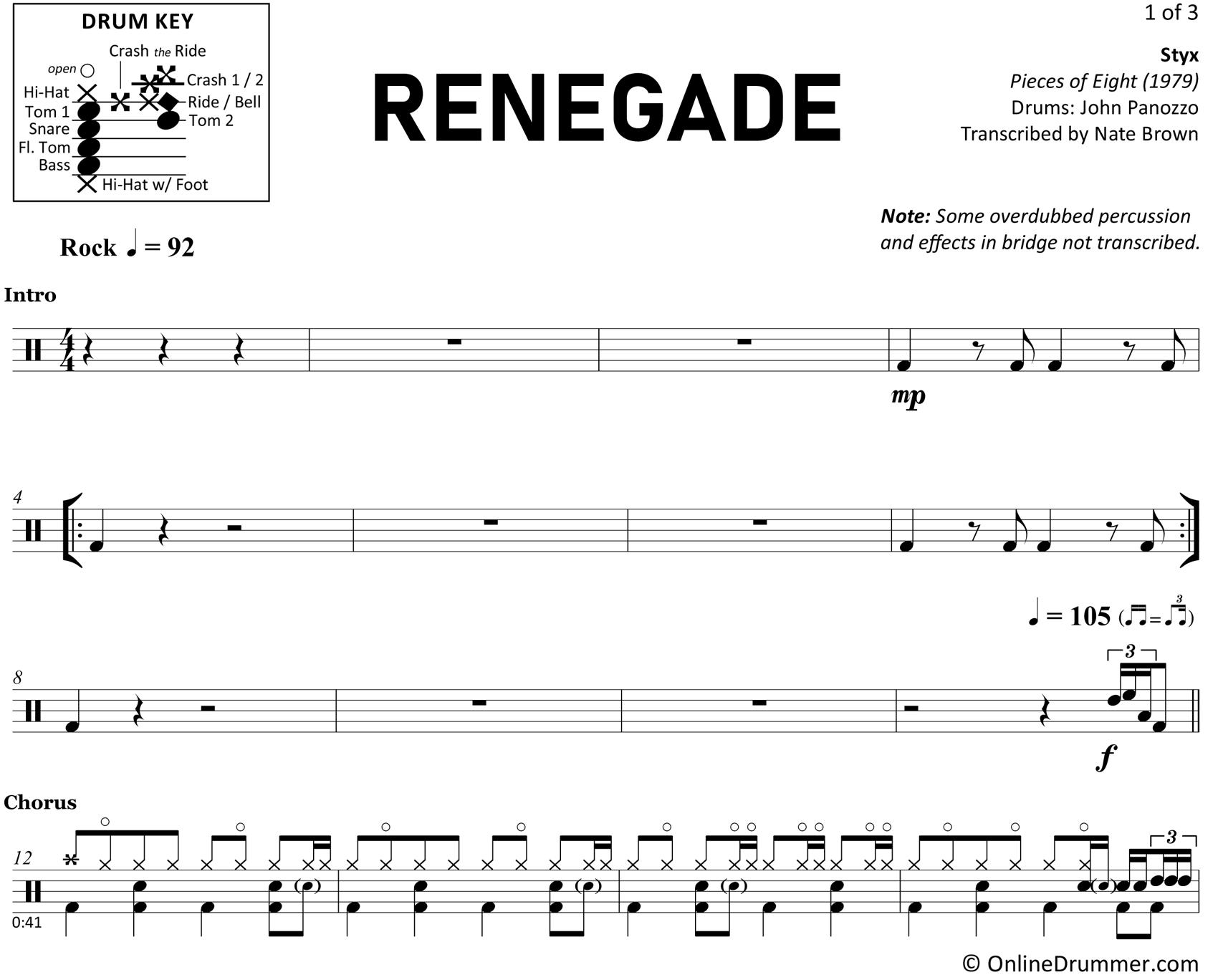Renegade - Styx - Drum Sheet Music