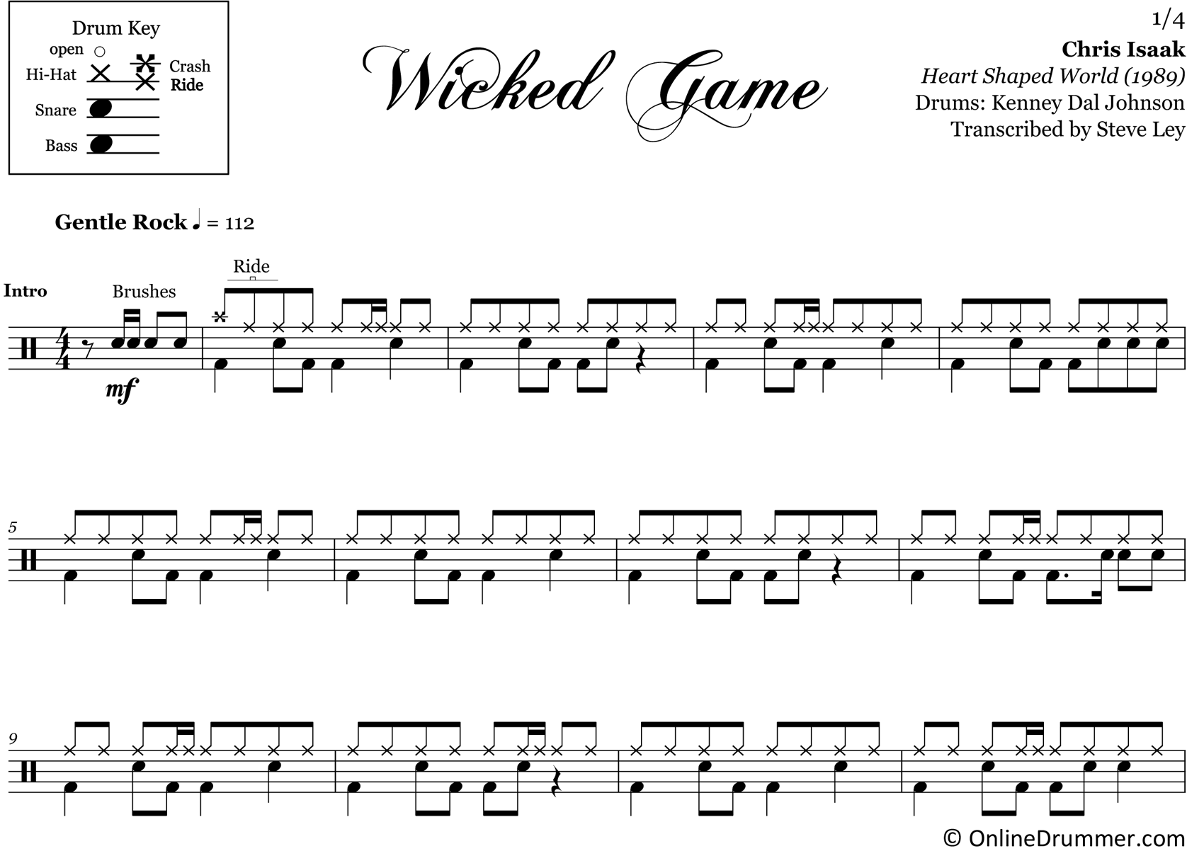 Wicked Game - Chris Isaak - Drum Sheet Music