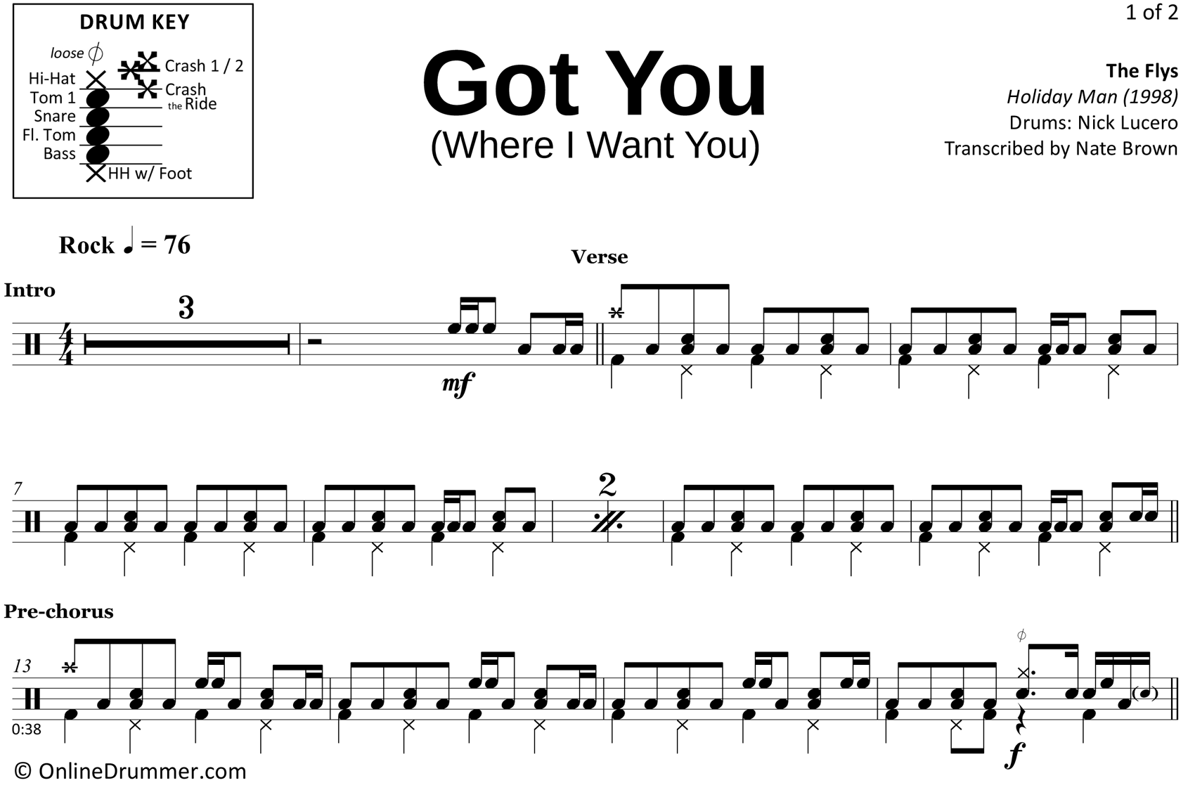 Got You (Where I Want You) - The Flys - Drum Sheet Music