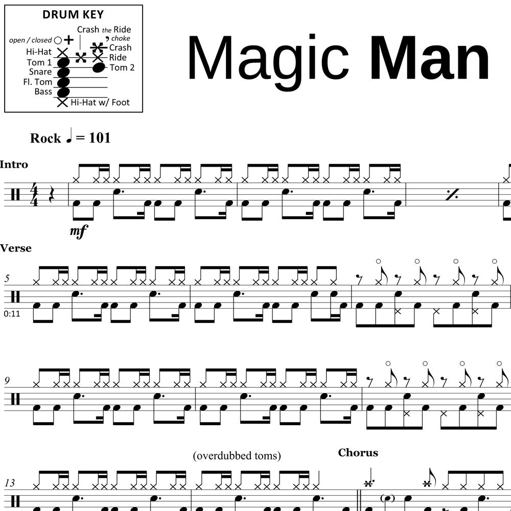 Magic Man - Heart - Drum Sheet Music