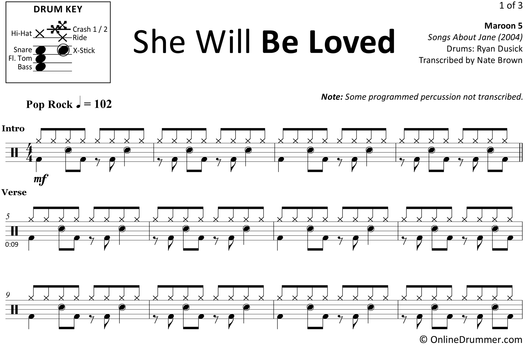 She Will Be Loved - Maroon 5 - Drum Sheet Music