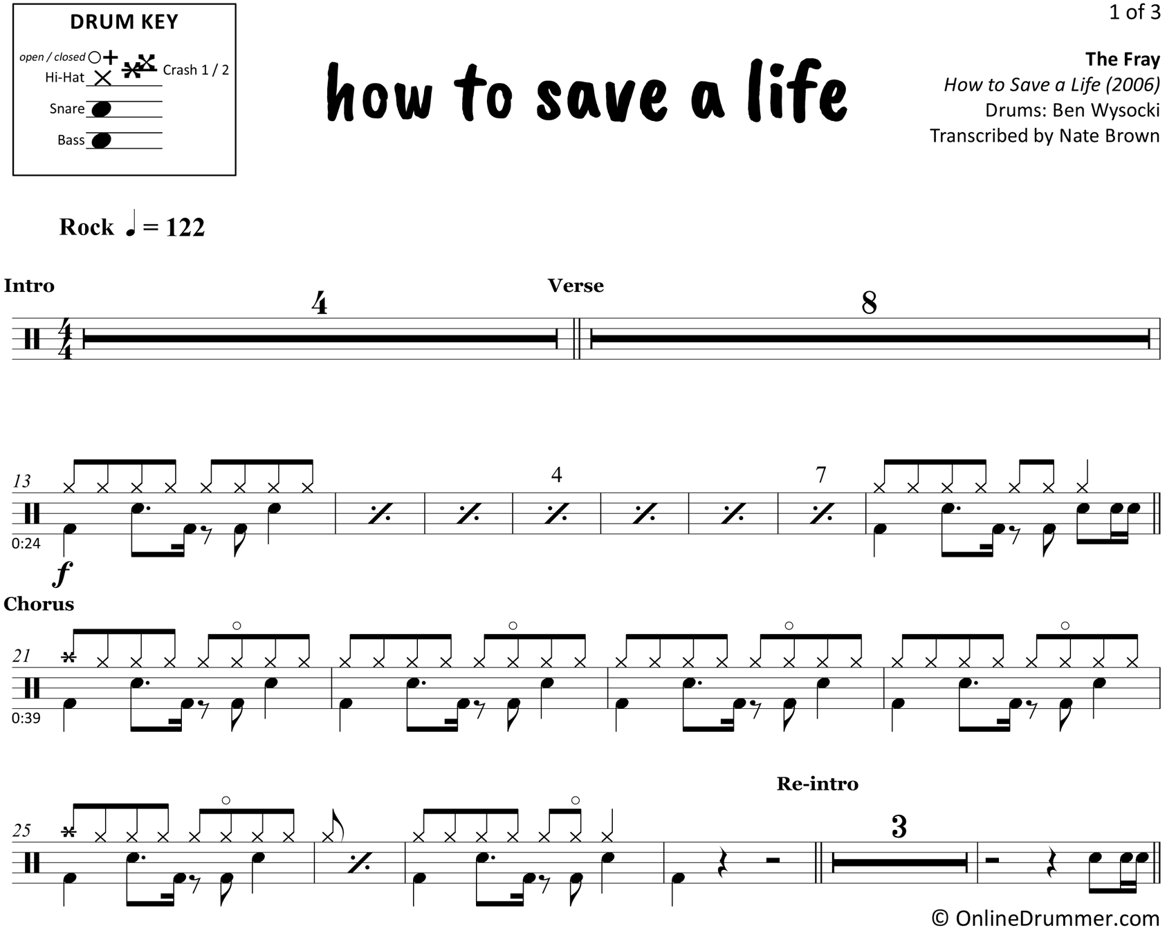 How to Save a Life - The Fray - Drum Sheet Music