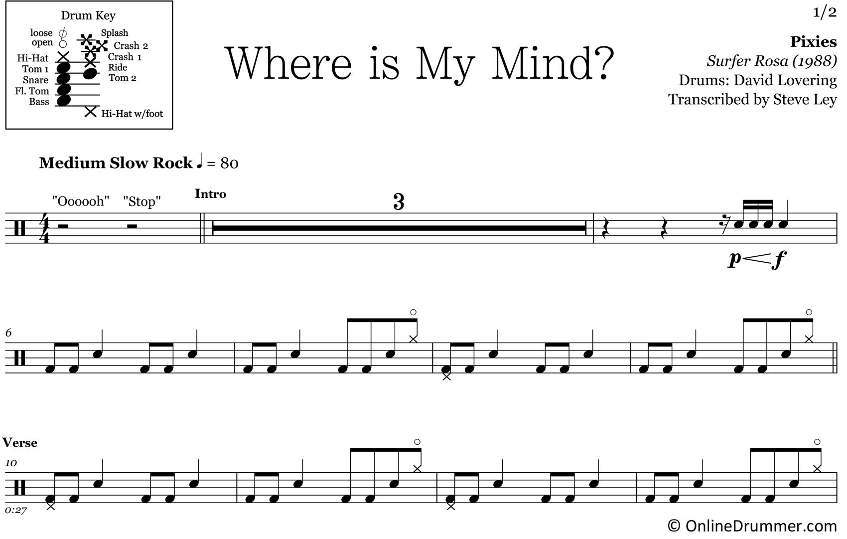Where Is My Mind? - Pixies - Drum Sheet Music