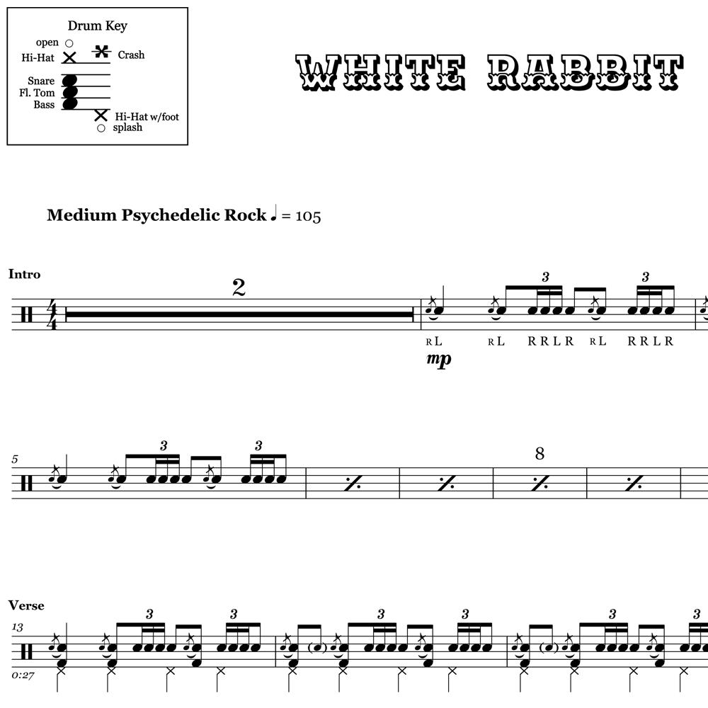 White Rabbit - Jefferson Airplane - Drum Sheet Music