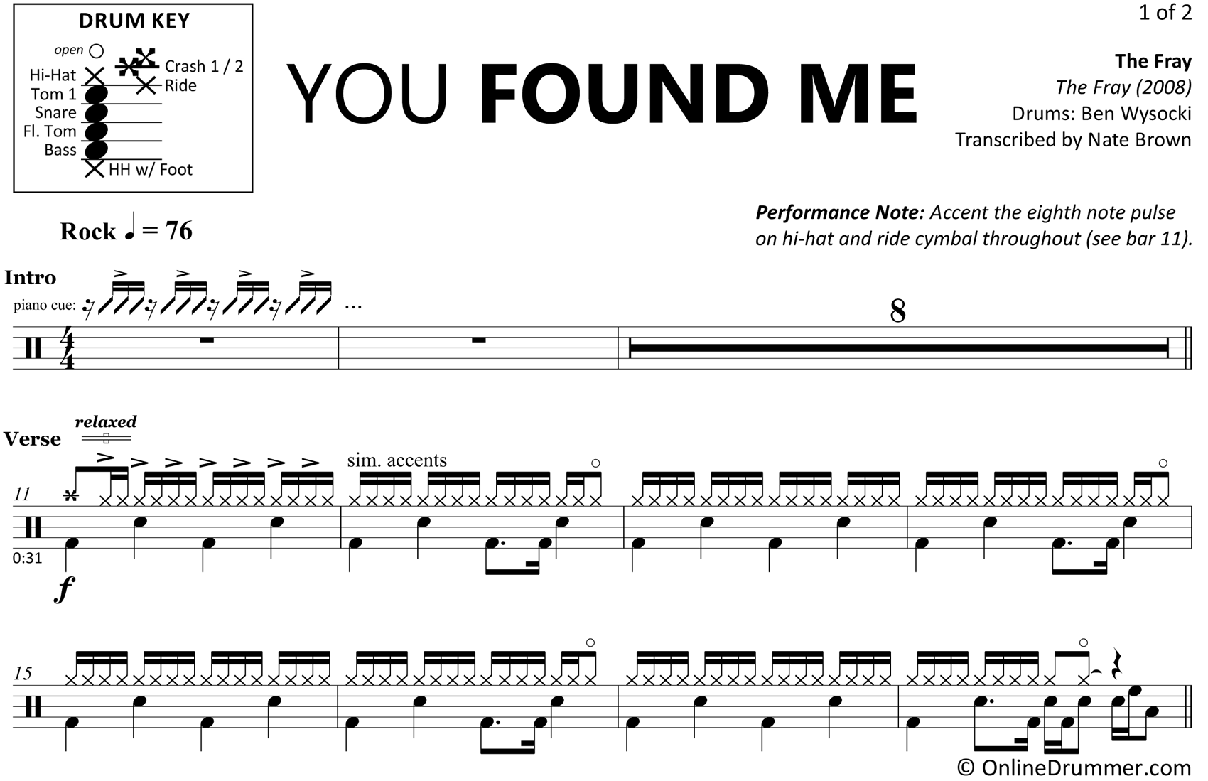 You Found Me - The Fray - Drum Sheet Music