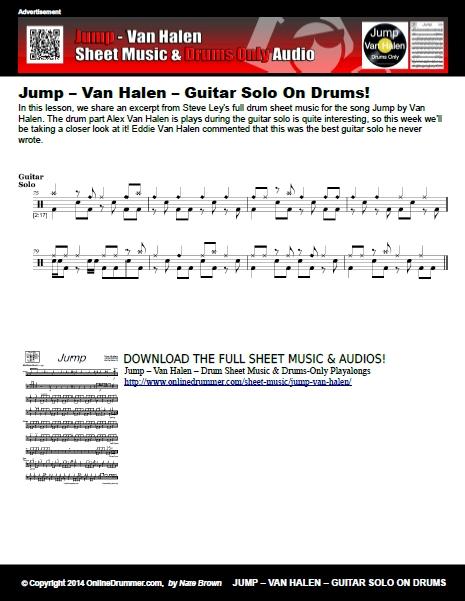 Jump - Van Halen - Guitar Solo On Drums Sheet