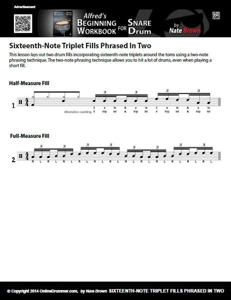 Sixteenth-Note Triplet Fills Phrased In Two - Sheet Music